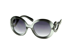 Designer Oversized High Fashion Sunglasses w/ Baroque Swirl Arms