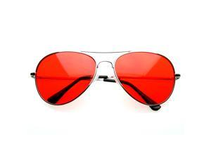 Colorful Premium Silver Metal Aviator Glasses with Color Lens Sunglasses (Red)