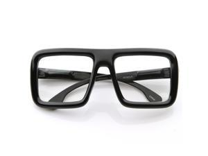 Large Retro-Nerd Bold Thick Square Frame Clear Lens Glasses