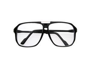 Square Shaped Plastic Aviator Clear Lens Glasses Eyewear with Metal Top Bridge