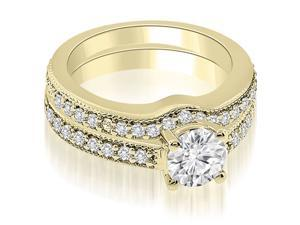 1.04 cttw. Antique Cathedral Round Diamond Bridal Set in 18K Yellow Gold (VS2, G-H)