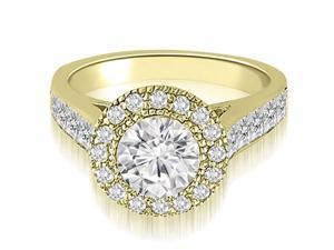 1.54 cttw. Halo Round Cut Diamond Engagement Ring in 14K Yellow Gold (VS2, G-H)