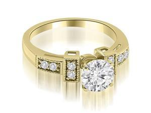 0.90 cttw. Antique Style Milgrain Round Diamond Engagement Ring in 18K Yellow Gold (SI2, H-I)
