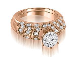 1.35 cttw. Antique Round Cut Diamond Bridal Set in 18K Rose Gold (VS2, G-H)