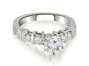 0.99 cttw. Princess And Round Cut Diamond Engagement Ring in 18K White Gold (VS2, G-H)