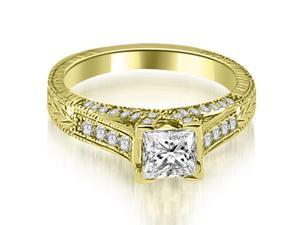 0.85 cttw. Antique Princess Cut Diamond Engagement Ring in 14K Yellow Gold
