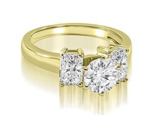1.45 cttw. Round and Emerald Cut 3-Stone Diamond Engagement Ring in 18K Yellow Gold (VS2, G-H)