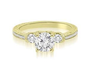 0.75 cttw. Milgrain Three-Stone Round Diamond Engagement Ring in 18K Yellow Gold