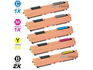 Compatible HP Color LaserJet Pro MFP M176n/MFP M177fw (HP 130A) Set of 5 Toner Cartridges: (2 Bk,1 C,1 M,1 Y) CF350A CF351A ...