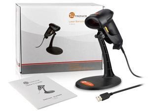 Taotronics TT-BS003 Black USB Automatic Wired Handheld Laser Barcode Scanner With Hands Free Adjustable Stand Bracket