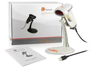 TaoTronics® TT-BS005 Handheld Bar Code Scanner / Reader - White, USB Wired, Optical Laser, Long Range, Standing Bracket Included
