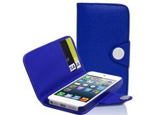 Blue Flip Wallet Leather Case Cover Pouch W/ Card Slot For Apple iPhone 5 5th Gen