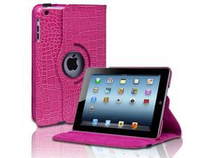 Pink 360 Degree Rotating Crocodile Pattern Leather Smart Cover Case Stand For Apple iPad Mini 7.9'' Tablet