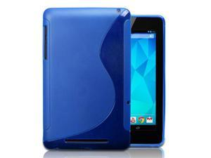 Blue S-Shape Design Protector TPU Case Cover Skin For Google Nexus 7 Android Tablet