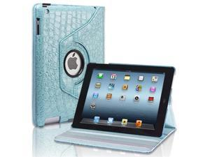 iPad 3 / 2 360 Degree Rotating Crocodile Pattern Leather Smart Cover Blue