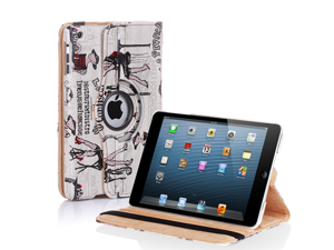 Swivel-N-Go 360 Rotating PU Leather Case Cover Stand W/ Stylus Holder For Apple iPad Mini (Fashionate Beauty Black)