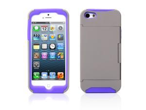 Credit Card Hard Shell Stand Combo Case Cover For Apple iPhone 5s 5 5G Gray