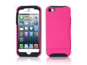 Credit Card Hard Shell Stand Combo Case Cover For Apple iPhone 5s 5 5G Pink
