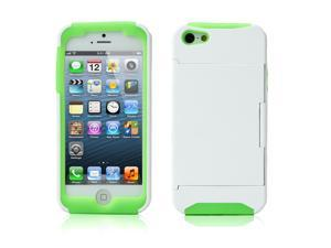 Credit Card Hard Shell Stand Combo Case Cover For Apple iPhone 5s 5 5G White