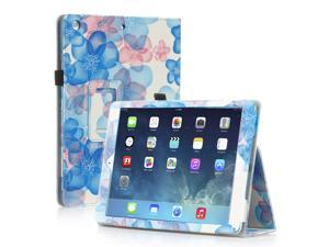 PU Leather Folio Folding Stand Case Cover For Apple iPad Air 5 5th Gen Flower - Blue