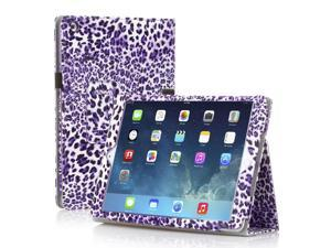 PU Leather Folio Folding Leopard Stand Case Cover For Apple iPad Air 5 5th Gen Purple