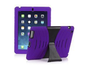 Hybrid Silicone & Hard Kickstand Heavy Duty Dual Layer Case Cover for Apple iPad Mini & iPad Mini Retina Display (Purple)