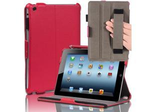 Red Hard Back Protective Slim Folio Smart Case Cover Stand W/ Hand Strap For Apple iPad Mini 7.9'' Tablet