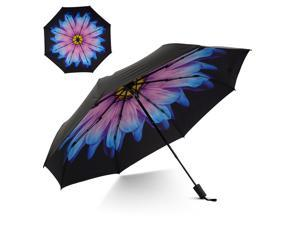 Small Travel UV Sun & Rain Umbrella - Windproof & Sun UV Protection Screen Shade Block Double Layer Compact Mini Portable Folding Umbrella with Handle Wrist Strap and Carrying Bag (Blue Icy Flower)