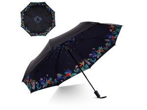 Small Travel UV Sun & Rain Umbrella - Windproof & Sun UV Protection Screen Shade Block Double Layer Compact Mini Portable Folding Umbrella with Handle Wrist Strap and Carrying Bag (Assorted Flower)