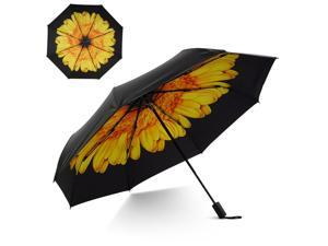 Small Travel UV Sun & Rain Umbrella - Windproof & Sun UV Protection Screen Shade Block Double Layer Compact Mini Portable Folding Umbrella with Handle Wrist Strap and Carrying Bag (Yellow Sunflower)