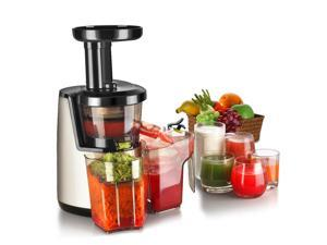 Cold Press Juicer Machine -  Masticating Juicer Slow Juice Extractor Maker Electric Juicing Vertical Stand for Fruit, Vegetable, Greens, Wheat Grass & More with Big Cup & Juicing Bowl