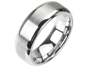 Tungsten Carbide Wedding Band Ring with Brushed Center Matte Finish Sizes 5 - 14