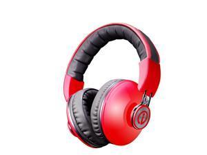 Rhythmz Studio Monitor DJ Style Headphones Over-Ear Isolating Memory Cushion - Red