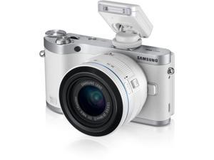 "SAMSUNG NX300 EV-NX300ZBFUUS White 20.3MP 3.3"" 768K Touch LCD Mirrorless Digital Camera with 20-50mm Lens"