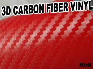 3D Texture Carbon Fiber Sticker Vinyl Flexible Decal Film Wrapping Sheet (Red)