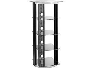 AT-2567 Two-Tone 5 Shelf Audio Tower (Black/Silver)