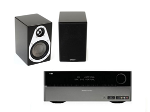 Harman Kardon HK 3490 2.1 Channel Stereo Receiver with Energy Veritas V-Mini 2-Way Bookshelf Speakers (Pair) Bundle