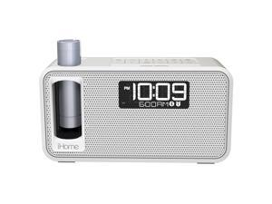 iHome iKN105 Kineta K2 Dual Charging Alarm Clock Radio With Bluetooth (White)