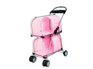 Pink Double Deck Pet Stroller no cup holder