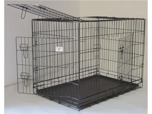 "24"" Pet Folding Dog Cat Crate Cage Kennel w/ABS Tray"