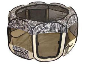 Zebra Pet Dog Cat Tent Puppy Playpen Exercise Pen M