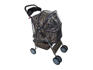 New Classic Fashion BestPet Leopard Skin 4 Wheels Pet Dog Cat Stroller w/RainCover