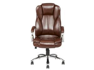 Brown High Back PU Leather Executive Office Desk Task Computer Chair w/Metal Base O18R