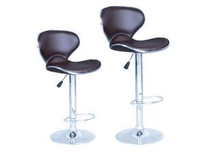 SET of 2 Bar Stools Brown PU Leather Modern Hydraulic Swivel Dinning Chair B03