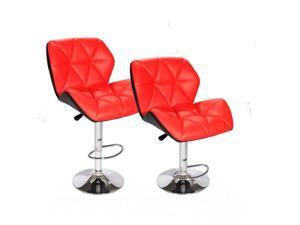 Red SET of (2) Bar Stools Leather Hydraulic Swivel Dinning Chair Barstools B01