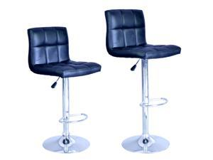 New Black Adjustable Synthetic Leather Swivel Bar Stools Chairs B06-Sets of 2
