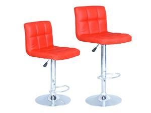 Modern Adjustable Synthetic Leather Swivel Bar Stools Chairs B06-Sets of 2 Red