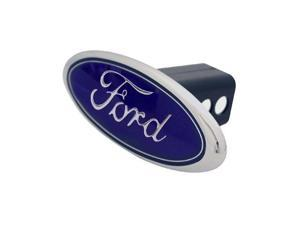 "Authentic Ford Logo Hitch Cover 2"" & 1.25"" Receivers Metal Triple Chrome Plated"