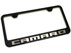 Chevy Camaro License Plate Frame Black Powder Steel Laser Etched Metal z28 RS SS