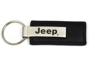 Jeep Name Logo Black Leather Keychain Metal AUTHENTIC Key Ring Lanyard